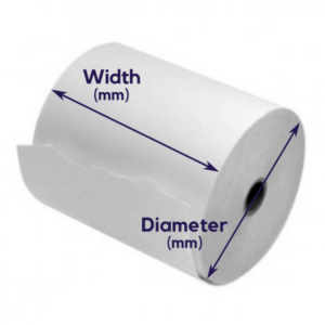 Photo of a roll of paper showing width and diameter dimensions